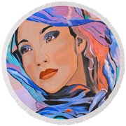Pretty Lady Round Beach Towel