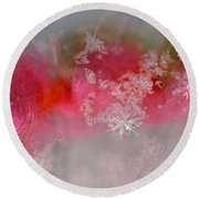 Round Beach Towel featuring the photograph Pretty Little Snowflakes by Lauren Radke