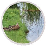 Round Beach Towel featuring the photograph Mated Pair Of Ducks by Eunice Miller