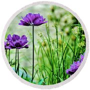 Pretty Purple Round Beach Towel