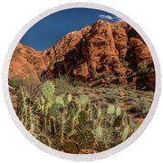 Prickly Pear Cactus Along Water Canyon Round Beach Towel