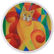 Primary Cat II Round Beach Towel by Pamela Clements