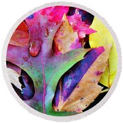 Round Beach Towel featuring the photograph Primary Colors Of Fall by Judy Palkimas