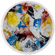 Round Beach Towel featuring the painting Primary Plus by Heidi Smith