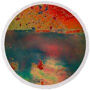 Round Beach Towel featuring the painting Primordial by Jacqueline McReynolds
