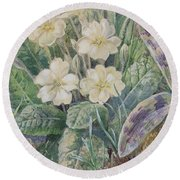 Primrose And Orchid Round Beach Towel
