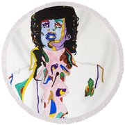 Round Beach Towel featuring the painting Prince Purple Reign by Stormm Bradshaw
