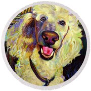 Princely Poodle Round Beach Towel
