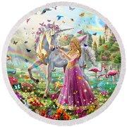 Princess And The Unicorn Round Beach Towel