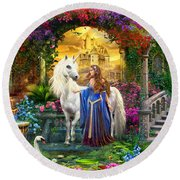 Princess And Unicorn In The Cloisters Round Beach Towel