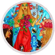 Round Beach Towel featuring the painting Princess Countrywoman. by Don Pedro De Gracia