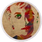 Princess Diana Watercolor Portrait On Worn Distressed Canvas Round Beach Towel