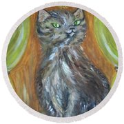 Round Beach Towel featuring the painting Princess Kitty by Teresa White