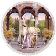 Princess Of The Unicorns Variant 1 Round Beach Towel by Garry Walton