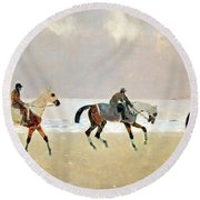 Princeteau's Riders On The Beach At Dieppe Round Beach Towel by Cora Wandel