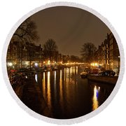 Prinsengracht Canal After Dark Round Beach Towel