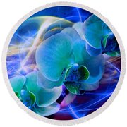 Round Beach Towel featuring the photograph Prismatic Orchid Swirl by Judy Palkimas