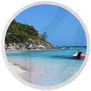 Private Beach Bahamas Round Beach Towel