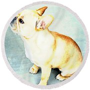 Profile In Frenchie Round Beach Towel