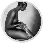Profile Of Josephine Baker Round Beach Towel