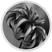 Profile Of Not Santa Two In Black And White Round Beach Towel