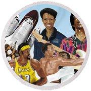 Jimi, Muhammad Ali, Wilt Chamberlain And Mae Carol Jemison Round Beach Towel