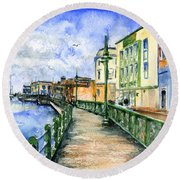 Promenade In Barbados Round Beach Towel