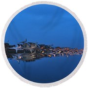 Promenade In Blue  Round Beach Towel