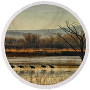 Promenade Of The Cranes Round Beach Towel