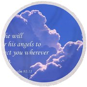 Promise Of Protection Round Beach Towel