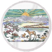 Round Beach Towel featuring the drawing Pronghorn Winter Sunrise by Dawn Senior-Trask