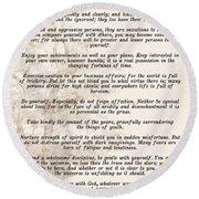 Prose Poem Desiderata By Max Ehrmann  Round Beach Towel