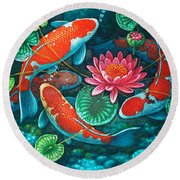 Prosperity Pond Round Beach Towel