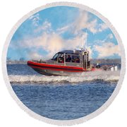 Protecting Our Waters - Coast Guard Round Beach Towel
