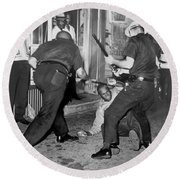 Protester Clubbed In Harlem Round Beach Towel by Underwood Archives