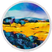 Round Beach Towel featuring the painting Provence Colors by Elise Palmigiani