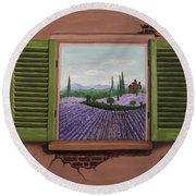 Round Beach Towel featuring the painting Provence Lavander Fields Original Acrylic by Georgeta Blanaru