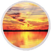 Round Beach Towel featuring the photograph Provincetown Harbor Sunset by Roupen  Baker
