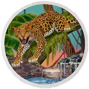 Prowling Leopard Round Beach Towel by Glenn Holbrook