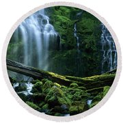 Proxy Falls Round Beach Towel by Bob Christopher