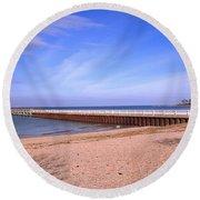 Prybil Beach Pier Round Beach Towel