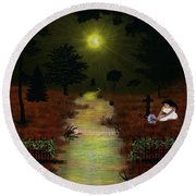 Psalm 23  Round Beach Towel by Michael Rucker