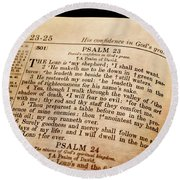 Psalm 23 - The Lord Is My Shepherd Round Beach Towel