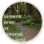 Psalm  - Paths Round Beach Towel by Sharon Elliott