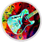 Psychedelic Guitar Round Beach Towel by Ally  White