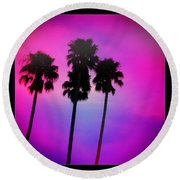 Psychedelic Palms Round Beach Towel