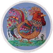Round Beach Towel featuring the drawing Psychedelic Rooster by Megan Walsh