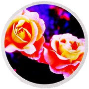 Psychedelic Roses Round Beach Towel