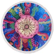 Round Beach Towel featuring the painting Psychedelic Squid 2 by Megan Walsh