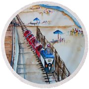 Pt Pleasant Nj Sand Train Round Beach Towel